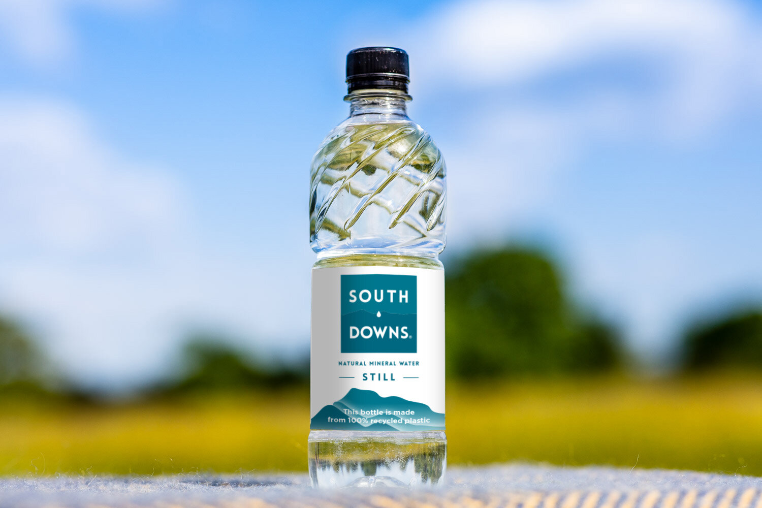 South Downs Water: 500 Still Bottle with background